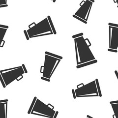 Megaphone speaker icon seamless pattern background. Bullhorn audio announcement vector illustration. Megaphone broadcasting symbol pattern.