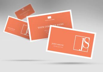 Orange Business Card Layout with White Border