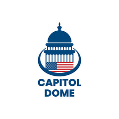 Capitol dome with american flag logo design inspiration