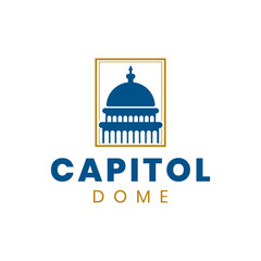 Capitol dome logo design inspiration in blue and gold colors