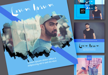 Social Media Post Layout Set with Blue Accents