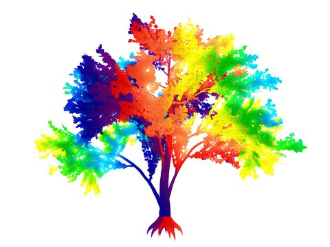 3d rendering of a rainbow colorful tree isolated on white background