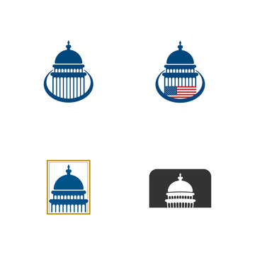 Set of capitol dome building icon design