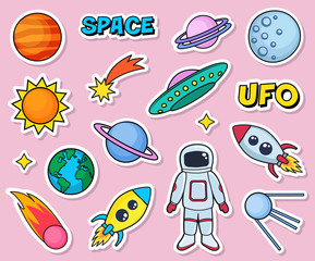 Cute patches set with space cosmonaut planets sun earth rockets spaceships moon ufo comet satellite and stars on pink background. Fashion stickers, cartoon 80s-90s style. Vector illustration