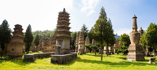 Pagoda forest in Shaolin temple, Dengfeng, Henan Province, China. It is the burying places of the most eminent monks of the temple over the centuries, and the biggest group of pagodas in the world