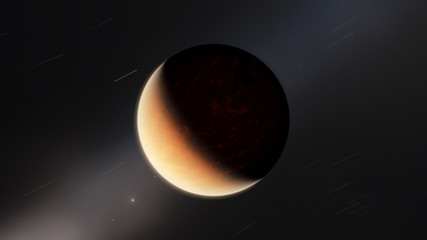 Exoplanet fire planet 3D illustration (Elements of this image furnished by NASA)