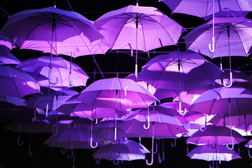 purple umbrella hang on wire for decoration