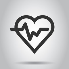 Heartbeat line with heart icon in flat style. Heartbeat illustration on white background. Heart rhythm concept.