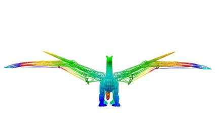3d rendering of an outlined colorful rainbow animal on white