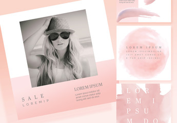 Social Media Layout Set with Pink Accents