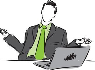 businessman with laptop illustration