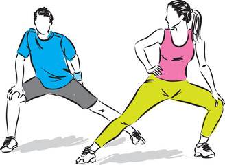 fitness couple stretching illustration