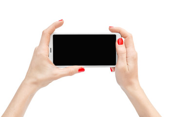 Woman's hands holding smartphone. Isolated on white.