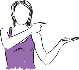 woman showing something illustration
