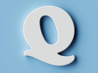 White paper letter alphabet character Q font