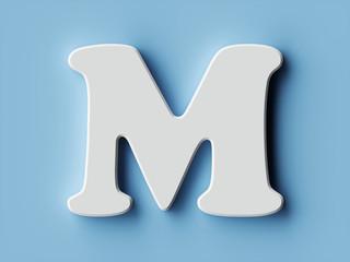 White paper letter alphabet character M font
