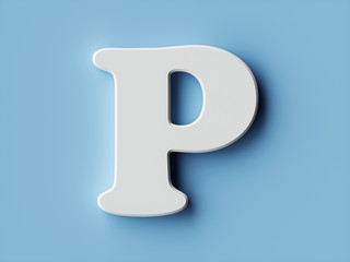 White paper letter alphabet character P font