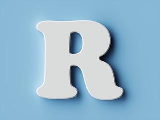 White paper letter alphabet character R font