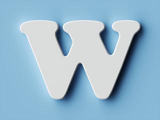 White paper letter alphabet character W font