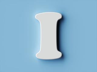 White paper letter alphabet character I font