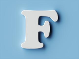 White paper letter alphabet character F font