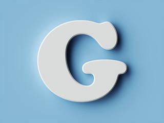 White paper letter alphabet character G font