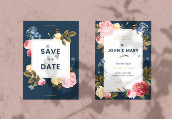 Floral Wedding Invitation Layout