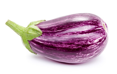 Wall Mural - single eggplant isolated on white background