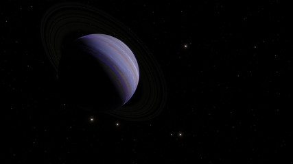 Exoplanet with rings gas giant Saturn planet 3D illustration (Elements of this image furnished by NASA)