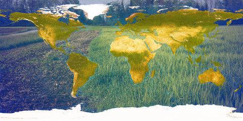 world map and agriculture background 3d-illustration. elements of this image furnished by NASA