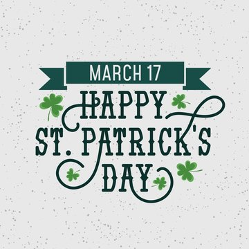 Happy Patrick's day retro illustration with grunge effect and flourishes for banner, invitations,advertising etc. Happy Patrick's day vector poster.