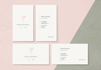 Business Card Layout with Floral Icon Element