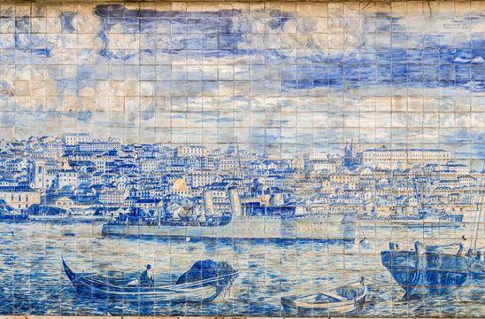 The vintage blue tile art in Lisbon streets, Portugal, Europe