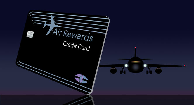 Here is a mock air miles reward credit card that features the outline of an airplane in the design. It is green on a black background and has a generic logo and EMV chip.