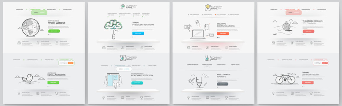 Business website template elements collection.