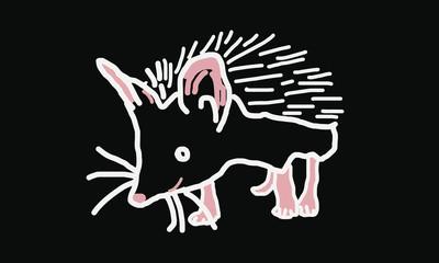 vector illustration of a smiling hedgehog T-shirt print