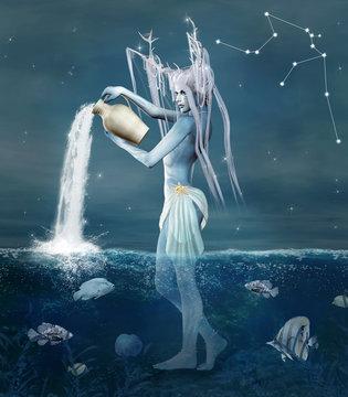 Zodiac series - Aquarius as a fantasy creature with a vase - 3D illustration