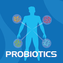 body of man with probiotics organisms
