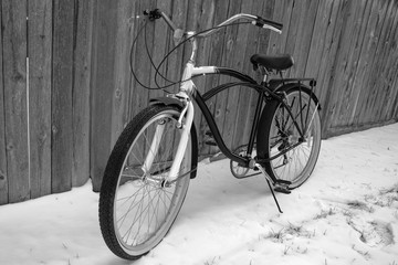 Vintage bicycle on Winter Snow - Black & White IV