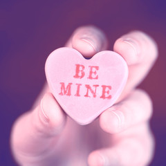 Hand holding converstation heart - Be Mine