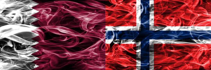 Qatar vs Norway, Norwegian smoke flags placed side by side. United Arab Emirates. UAE.