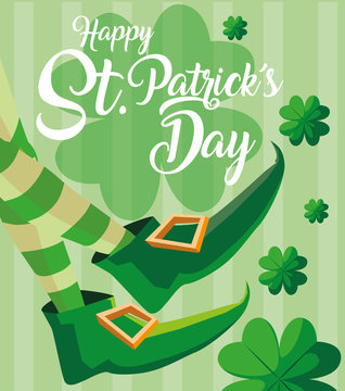 st patrick day and foots of leprechaun with boots