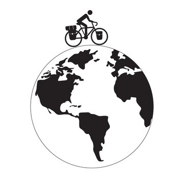 Cyclist ride bikepacking touring bicycle on earth globe vector