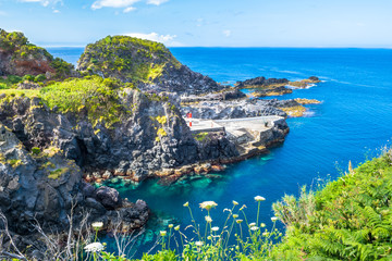 Beautiful view of the beach in Santa Cruz das Flores Village - Flores Island - Azores Portugal Wall mural