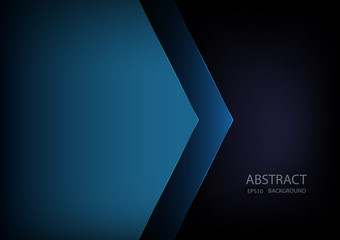 Blue angle arrow overlap vector background on space for text and message artwork design Wall mural