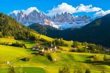 Canvas Prints Honey Beautiful sunset in Santa Maddalena village - Val di Funes valley, Dolomites - Trentino Alto Adige, Bolzano - Italy