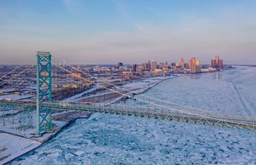 Detroit skyline and Ambassador Bridge