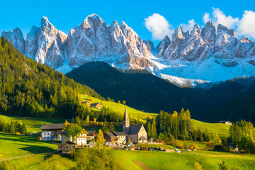 Beautiful sunset in Santa Maddalena village - Val di Funes valley,  Dolomites - Trentino Alto Adige, Bolzano - Italy Wall mural
