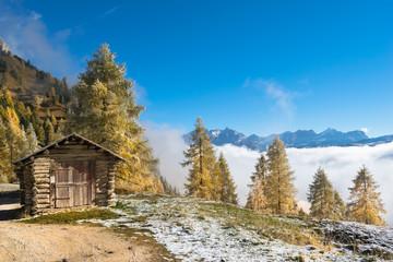 Beautiful landscape of Gardena Pass in Val Gardena region, Dolomites, Italy