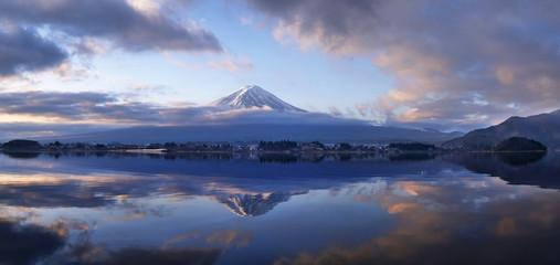 Fuji Mountain Morning on Lake Kawaguchi Panorama
